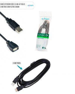 CABO EXTENSOR USB 2.0 3M EXBOM